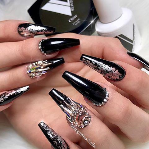 Black Coffin Nails Rose Gold Bling Nail Art Design By Margaritap Margaritasnailz Instagr Bling Nail Art Nails Design With Rhinestones Rhinestone Nails