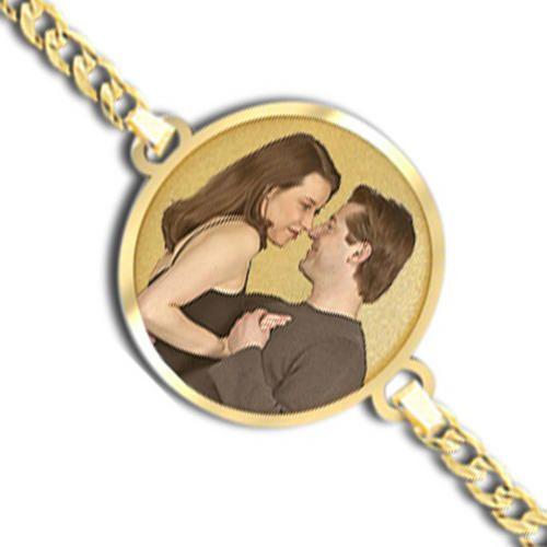 Round Photo Engrave Bracelet w/ Curb Chain - PG73737