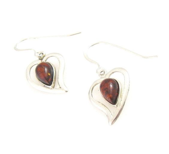 Sterling Silver Baltic Amber Heart Earrings by CJVintageTreasures, $25.00