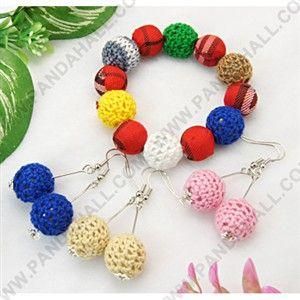 Schmuck-Sets, Ohrringe und Armbänder, mit runden Perlen Handarbeit geweb