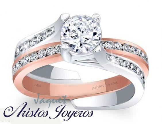 Anillo Jaquet en oro rosado y blanco 14kl con diamantes.. #Elegante #Original #Exclusivo
