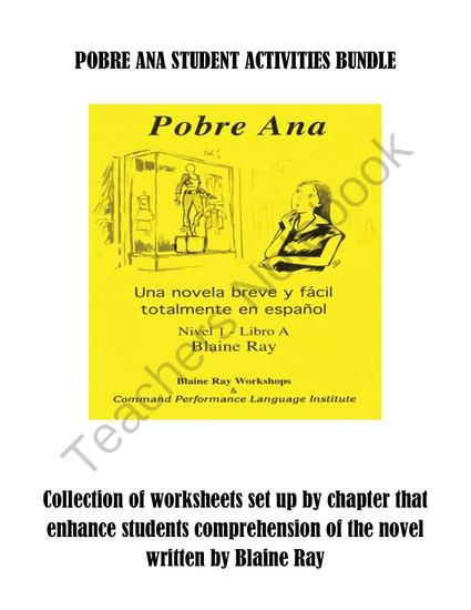 Pobre Ana Student Activities Bundle from Spanish Classroom on ...