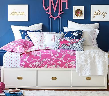 Gemma Campaign Storage Bed | Navy gold, White gold and ...