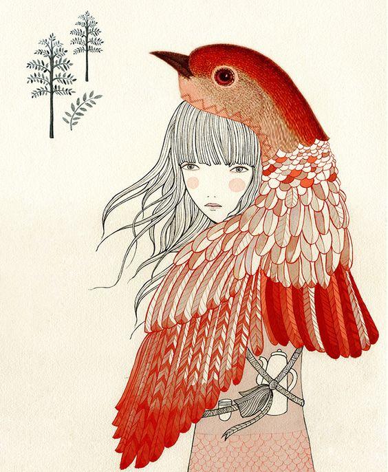 Image of Print chica petirrojo Illustrationy by Lady Desidia