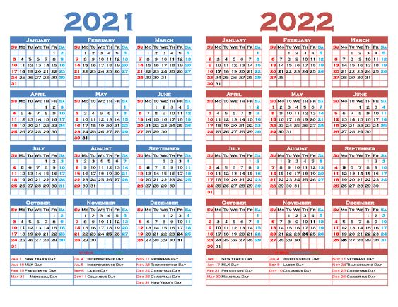 free 2021 and 2022 calendar printable