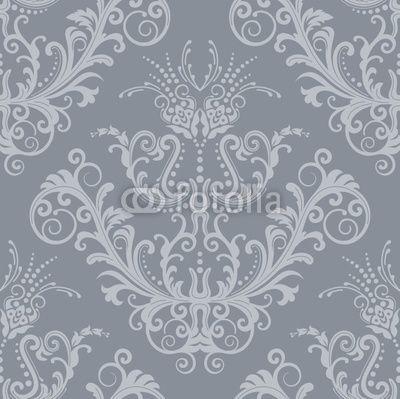 Luxury silver floral vintage wallpaper