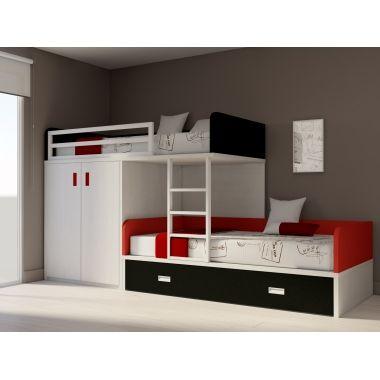 lit superposé train armoire deux portes | idées pour la maison