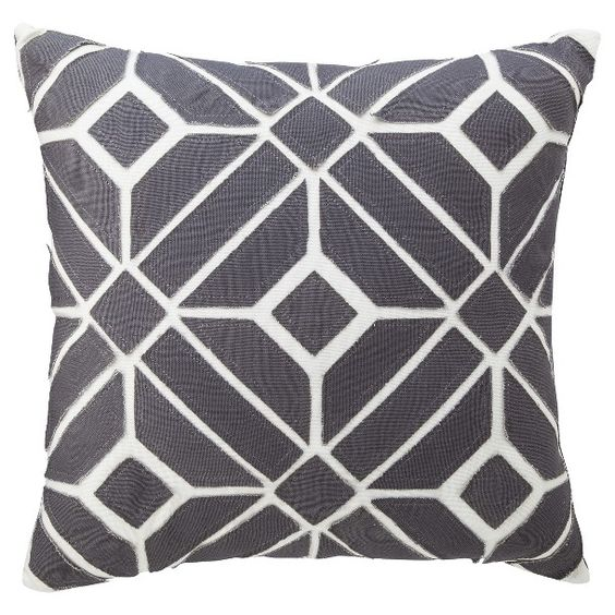 "Geometric Toss Pillow - Gray (18x18"")"