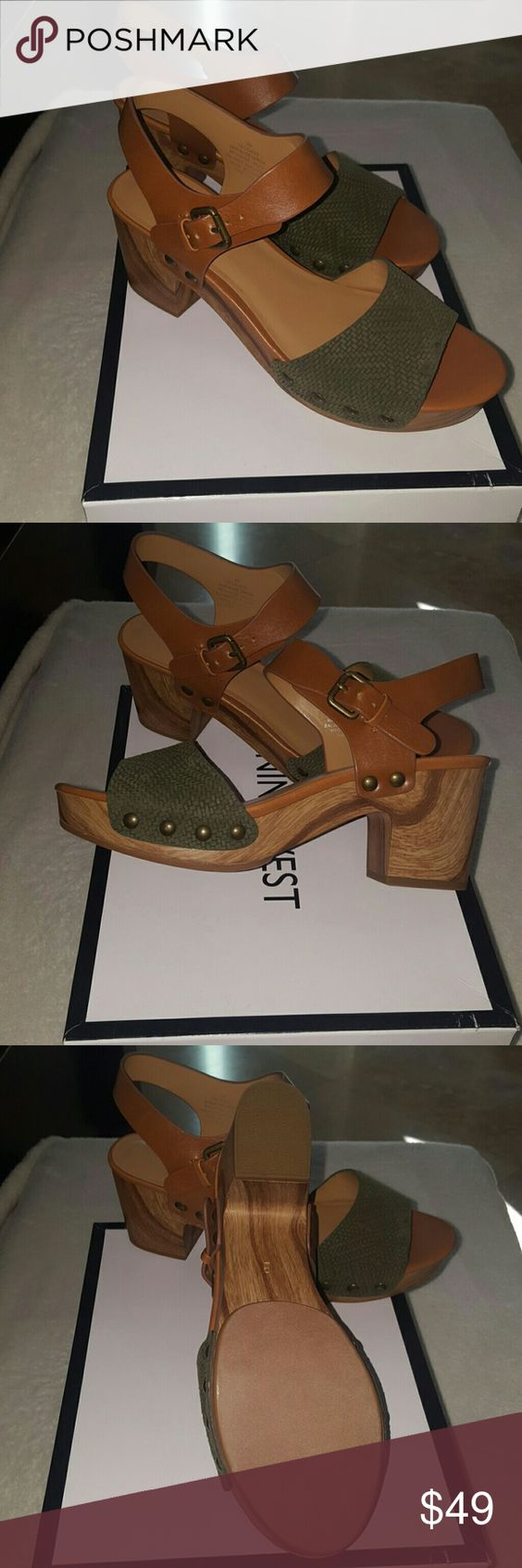 Nine west strapped shoes Army green and camel color heeled shoes Nine West Shoes Platforms