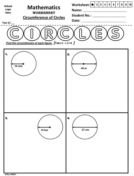 Worksheet About Calculating Circumference Of Circles Using