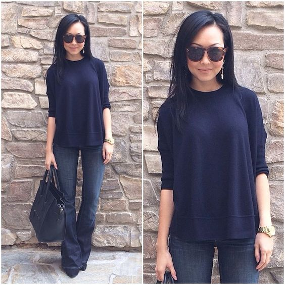 <flare> #JCrew #HudsonJeans #Celine #bellbottoms #swingsweater #celineminiluggage #ootd #wiwt #fashiondiaries