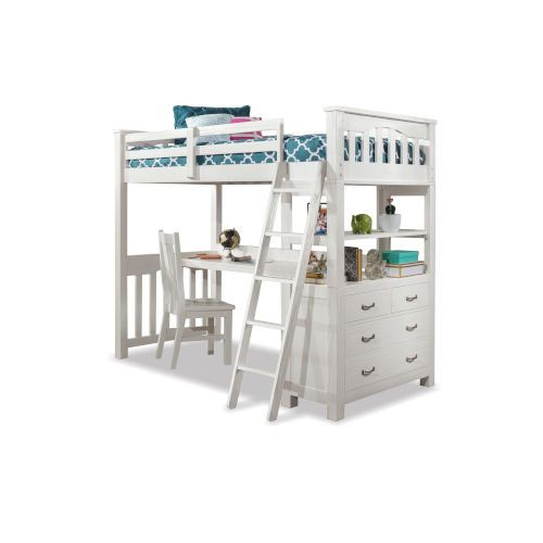 Ne Kids 12080ndc Highlands Full Loft Bed W Desk Chair In White Premium Shipping Options Transitional Bellacor In 2021 Loft Bed Bed Desk Bunk Bed With Desk