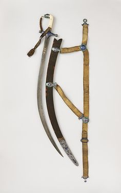 Sword (Shamshir) with Scabbard and Belt, blade dated A.H. 1162 or 1164/A.D. 1748–49 or 1750–51. Blade, Iranian; hilt, Indian. The Metropolitan Museum of Art, New York. Bequest of George C. Stone, 1935 (36.25.1304a, b) #sword