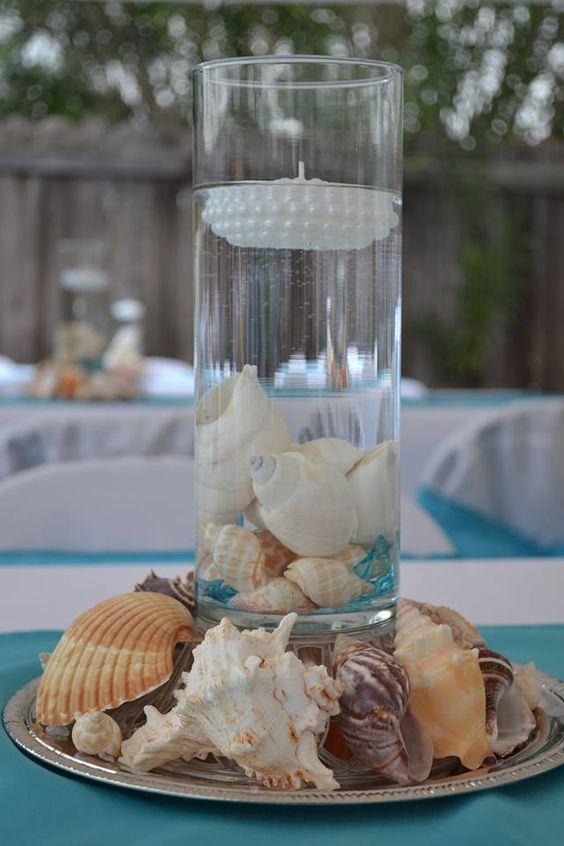 Beach Theme Quinceanera Center Pieces Centerpiece Pinterest Beaches Vase And Shells