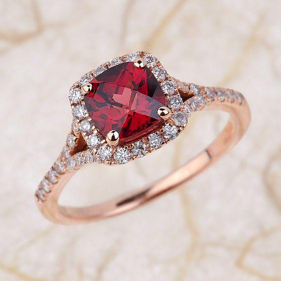 Garnet Engagement Ring - 14kt Rose Gold With Cushion Cut Garnet Spilt Shank Halo Diamond Engagement Ring - 6x6 Centre