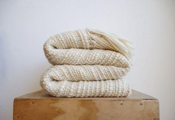 Natürliche organische texturierte Merinowolle, Chunky Knit Decke, Off White Afghanen werfen Decke Hand gewebt