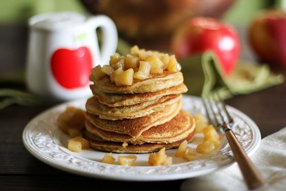 Gluten Free Apple Cinnamon Pancakes | http://www.theroastedroot.net