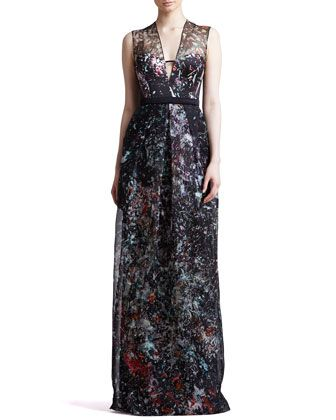 Splatter-Print+Organza+Illusion+Gown,+Black/Multicolor+by+J.+Mendel+at+Neiman+Marcus.