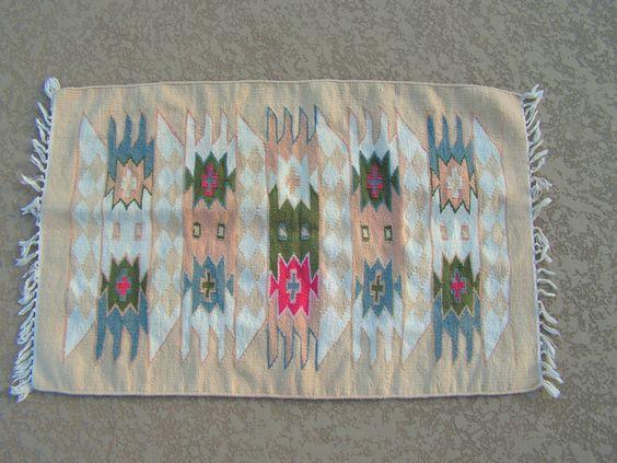 Mexican Woven Chimayo Blanket Rug Southwestern 36 x 23 Rug Ethnic Tribal Weaving Decor