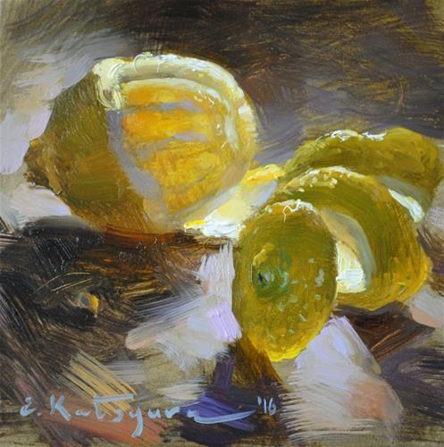 "Daily Paintworks - ""Lemon on Dark"" - Original Fine Art for Sale - © Elena…:"