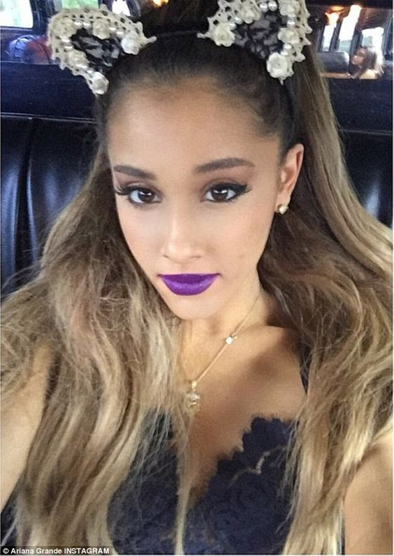 Selfie: She later shared a photo wearing another set of bejeweled cat ears and sporting a ...