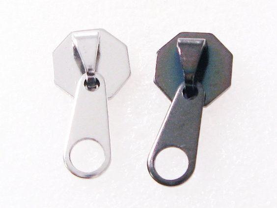 Pair Stainless Steel Cute Zipper Screw Stud Earrings Black / Silver 1KL $9.20