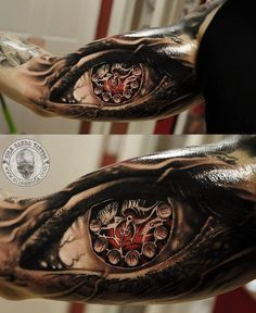 http://tattooideas247.com/realistic-eye-clock-tattoo/ Realistic Eye Clock Tattoo #Clock, #Eye, #Realistic