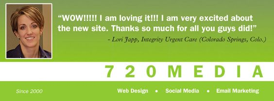 Facebook is the perfect place to share the feedback we receive from our customers. We offer full-service online marketing solutions including website design, social media and email marketing. Use our Live Chat if you have questions about your project: http://www.720media.com/contact-us/live-chat/   Learn more about us: www.720MEDIA.com  Like us on FB: http://www.facebook.com/720MEDIA Follow our Tweets http://www.twitter.com/720MEDIA