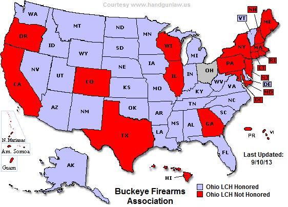 Ohio CCW Reciprocity Map Be Aware Pinterest Ohio And Guns. Ohio