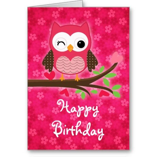 Hot Pink Cute Owl Girly Happy Birthday Greeting Cards