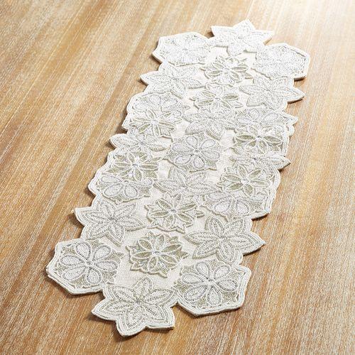 White Snowflake Beaded 36 Table Runner Christmas Table Cloth Christmas Table Linen Handcrafted Table