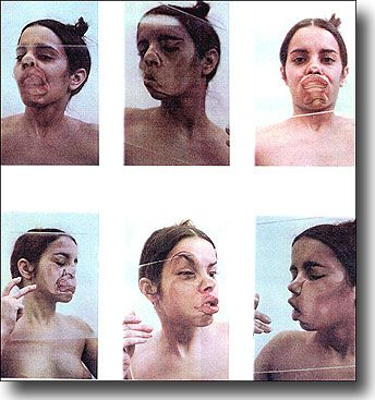 Ana Mendieta - generate 9 expressive portrait images using perspex or glass…