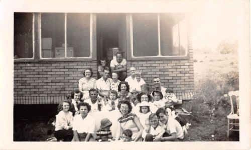 Photograph Snapshot Vintage Black and White: Family Boys Girls Huge 1940's