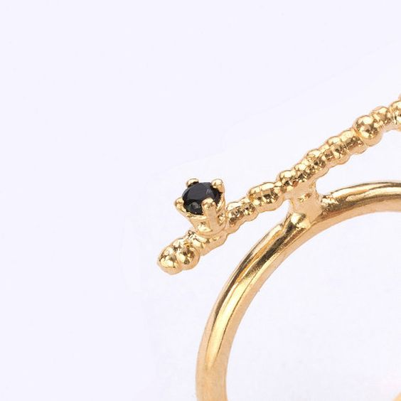 Gold Branch Ring Set With Black Onyx. Cocktail ring. Statement ring. Adjustable ring. Gemstone ring. Novelty ring. Unique ring. on Etsy, $124.96 CAD