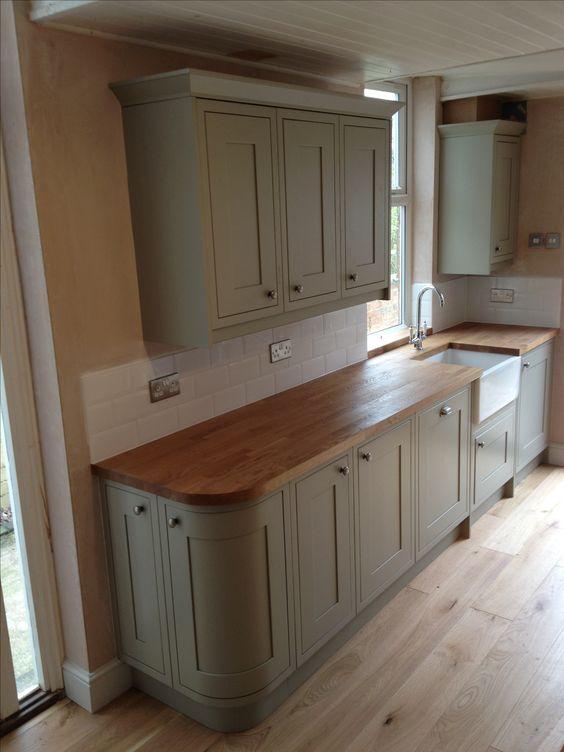 sage green kitchen benchmarx range with treated oak work surface and belfast sink victorian. Black Bedroom Furniture Sets. Home Design Ideas