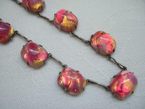 Vintage Silver Art Deco Opalescent Fire Opal Gold Foil Bi Colour Glass Necklace   eBay