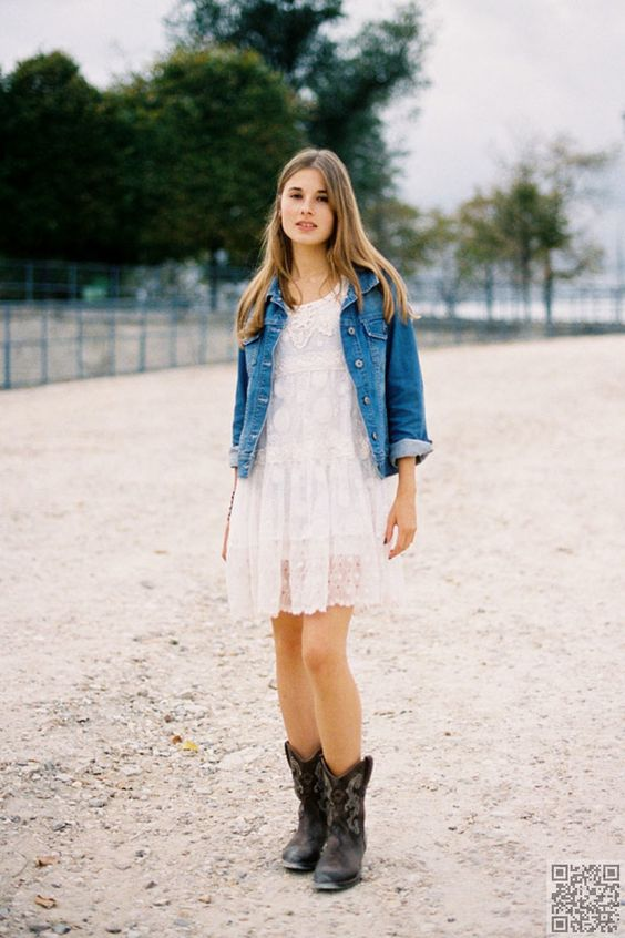 5. Match with Denim - 10 Ways to Wear Cowboy Boots