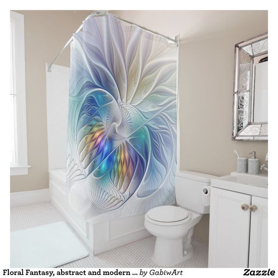Floral Fantasy, abstract and modern Fractal Art Shower Curtain