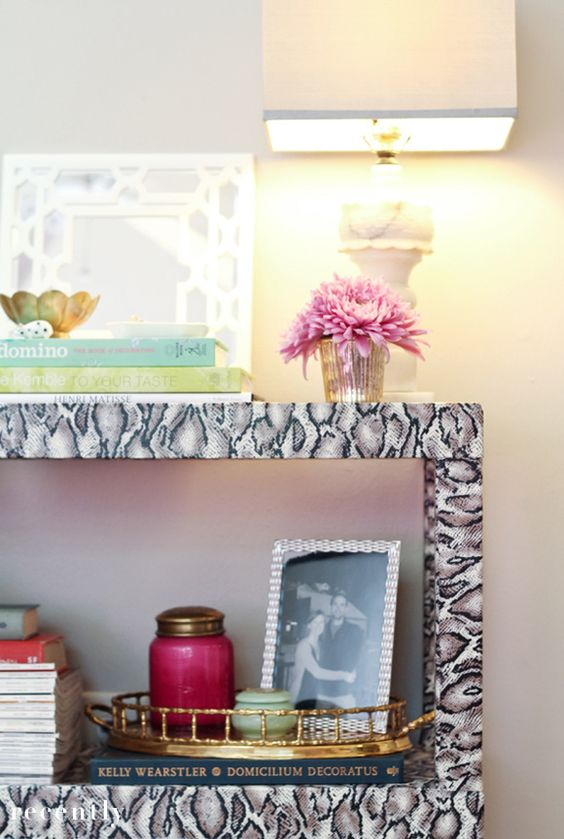 terrible table fabric recover--hate the snakeskin, love the cover up DIY! #DIY #home