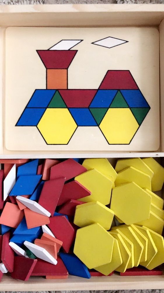 Melissa Doug Wooden Geometric Pattern Blocks And Boards Set Age 3