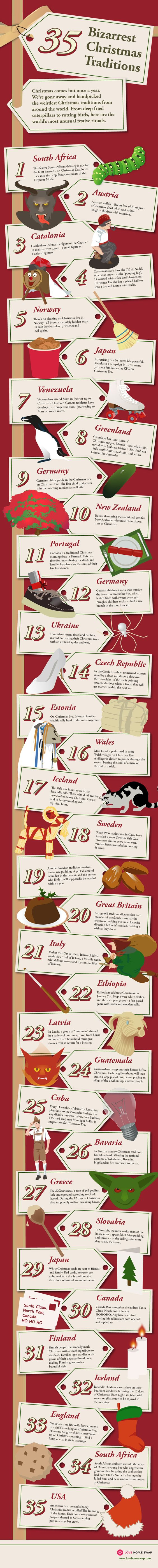35 Bizarrest Christmas Traditions #Infographic #Christmas #traditions