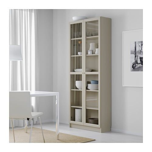 Billy Bookcase With Glass Doors Beige Ikea In 2019