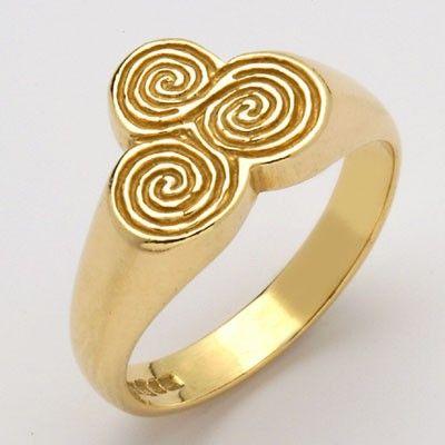 14K Ogham Newgrange Solstice Tri Spiral Ring