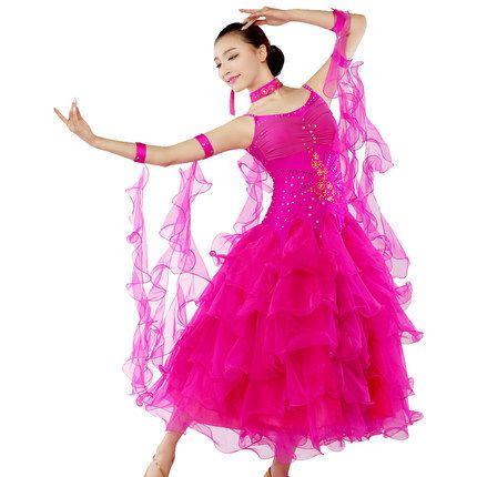 Verão novidade colorido dança moderna valsa vestidos sem mangas de uma fase de salão