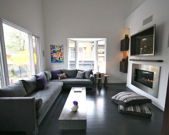 dark living room ideas.  Dark floor dark sofa light walls Home Pinterest Light and Modern living rooms
