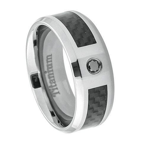 Titanium Black Carbon Fiber Inlay with Black Diamond Center Stone