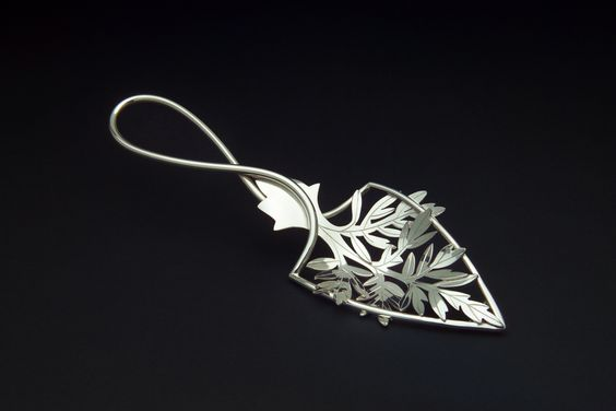 Wormwood Leaf absinthe spoon, Fabricated sheet of sterling silver and rolled down wire.   Copyright Robyn Nichols. https://www.RobynNichols.com