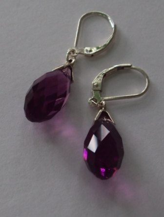 Swarovski amethyst briolette earrings by BeautyOffered on Etsy, $30.00