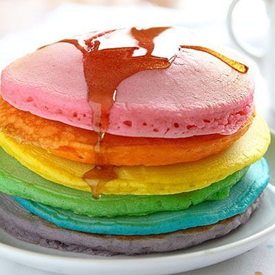 15 Treats That Are Better Than The Rainbow Bagel #refinery29 http://www.refinery29.com/rainbow-foods-recipes#slide-2 Perfect Rainbow PancakesThese color-packed pancakes are the perfect, pillowy, stack of morning happiness. ...: