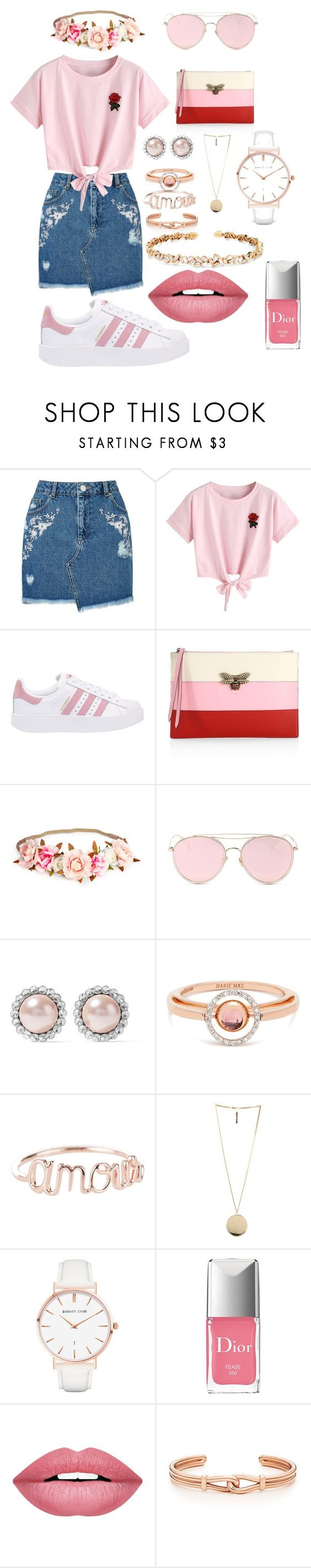 """Untitled #3"" by soninha97 on Polyvore featuring Miss Selfridge, WithChic, adidas Originals, Gucci, LMNT, Miu Miu, Marie Mas, Givenchy, Abbott Lyon and Christian Dior"